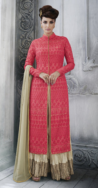 Pink and Gold Anarkali Suit