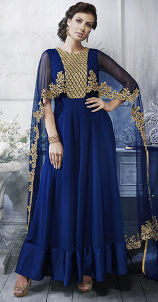 Navy Blue and Gold Anarkali Suit