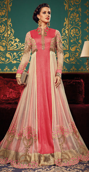 Pink and Beige Anarkali Suit
