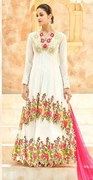 White Designer Anarkali Suit
