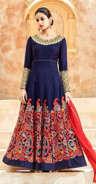 Navy Blue and Red Designer Anarkali Suit