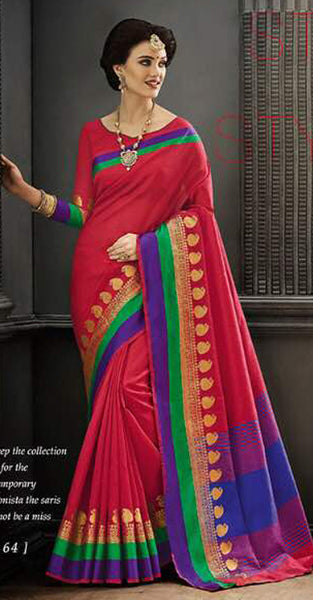 Red and Blue Designer Saree
