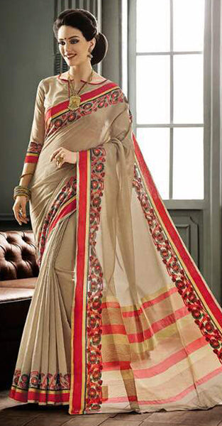 Beige and Red Designer Saree