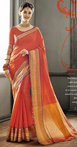 Dark Orange Designer Saree