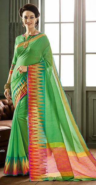 Green and Red Designer Saree