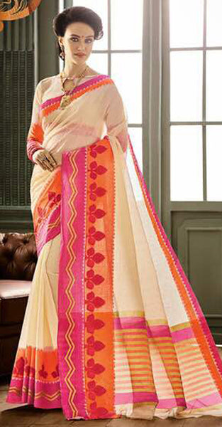 Cream and Pink Designer Saree