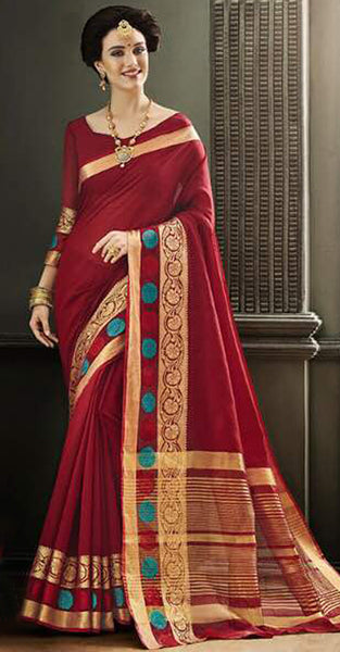 Mauroon and Gold Designer Saree