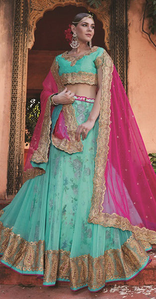 Blue, Gold and Pink Lehenga