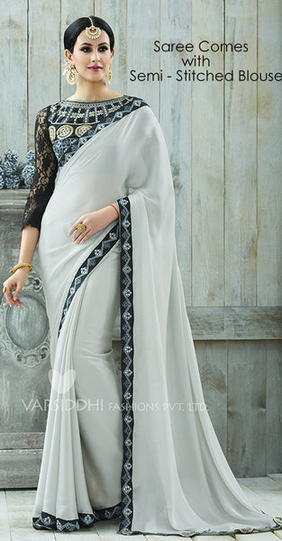 White and Black Designer Saree