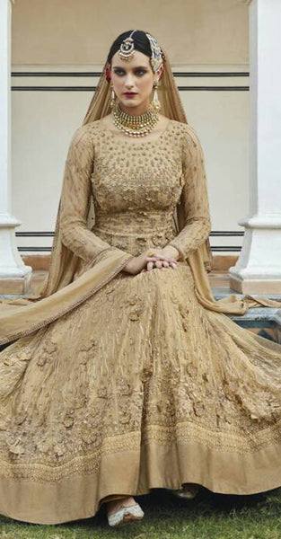 Gold Anarkali Style Suit