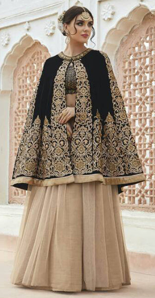 Black and Beige Lehenga