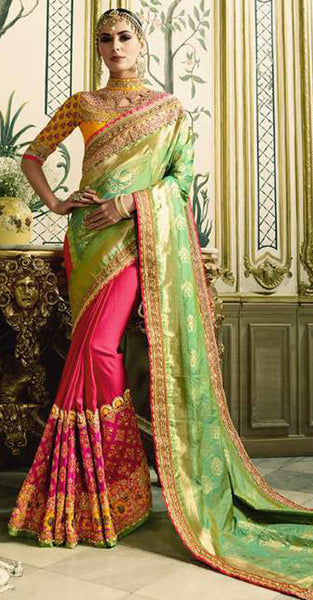 Light Green & Pink Saree