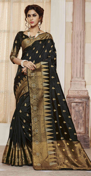 Black and Gold Jacquard Silk Saree