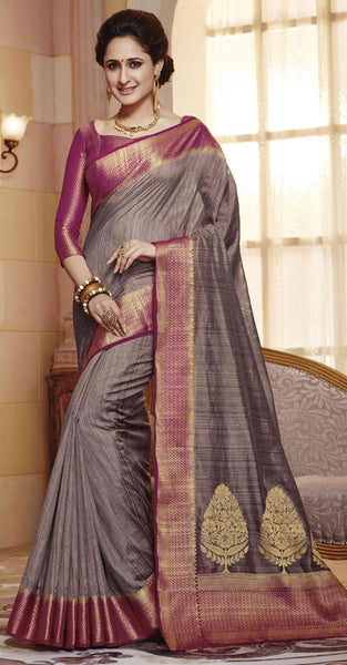 Grey and Purple Jacquard Silk Saree