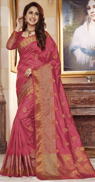 Pink and Gold Jacquard Silk Saree