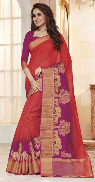 Purple and Red Jacquard Silk Designer Saree