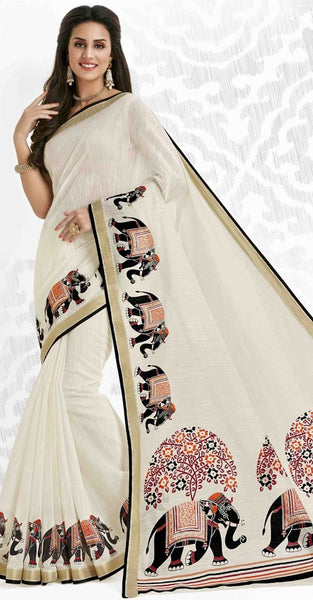 White Silk Saree with Elephant Print