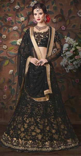 Black and Gold Lehenga