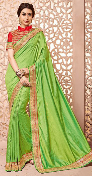 Green and Red Saree