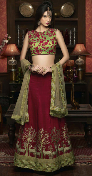 Dark Mauroon and Green Lehenga