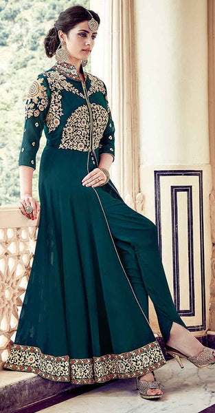 Dark Teal Green Anarkali Suit with Gold Embriodery