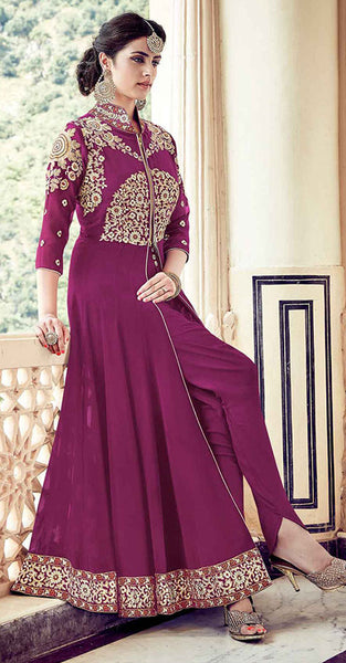 Purple Anarkali Suit with Gold Embriodery