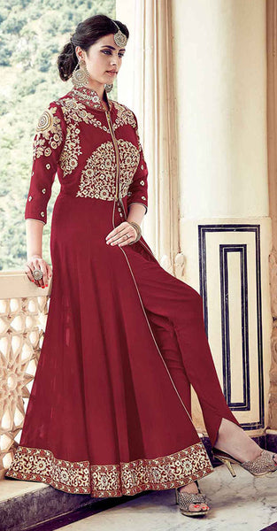 Red Anarkali Suit with Gold Embriodery