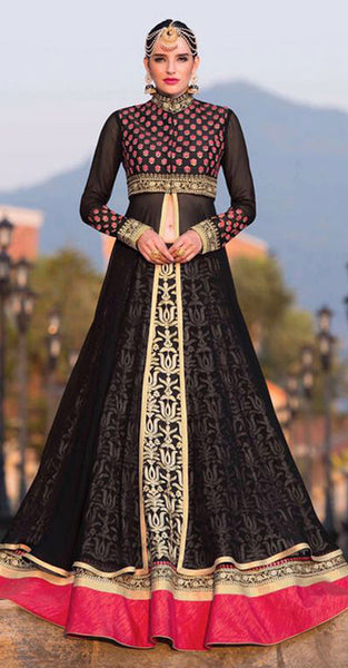Black and Red Anarkali style Suit
