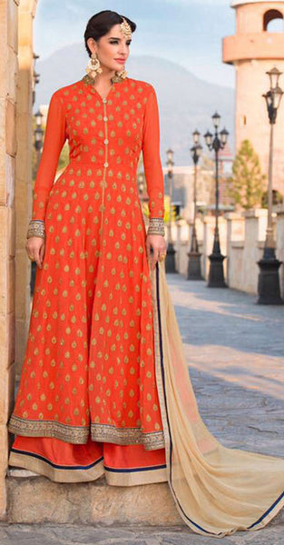 Orange and Gold Anarkali Suit with Gold
