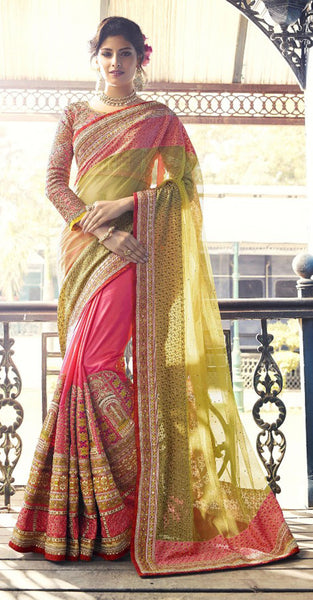 Light Green and Pink Designer Saree