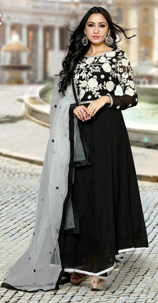 Black and White Anarkali Suit