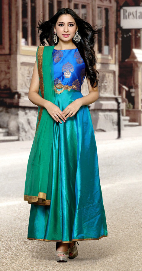 Blue and Green Anarkali Suit