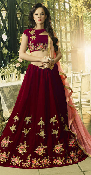 Mauroon and Bird Embriodery Designer Lehenga