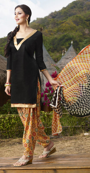 Black and Gold Patiala Suit
