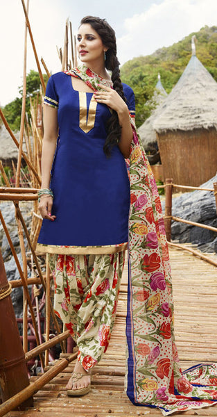 Navy blue with Floral print Patiala suit