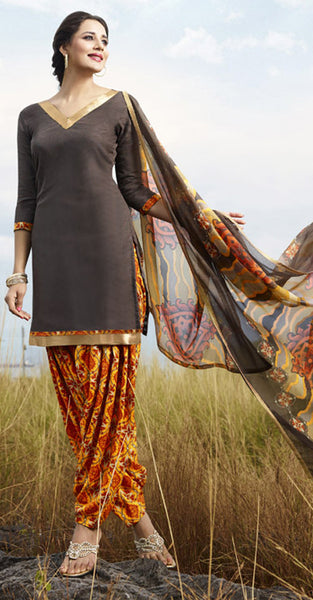 Brown and orange Patiala Suit