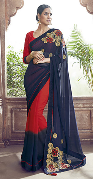 Navy Blue and Red Designer Georgette Saree