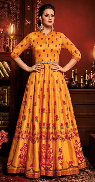 Yellow and Red Anarkali style Suit