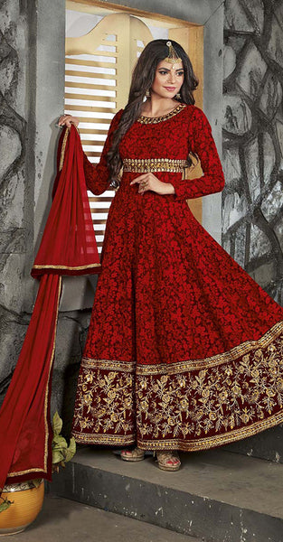 Red with Embriodery worked Anarkali Suit