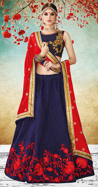 Blue and Red with Gold Lehenga