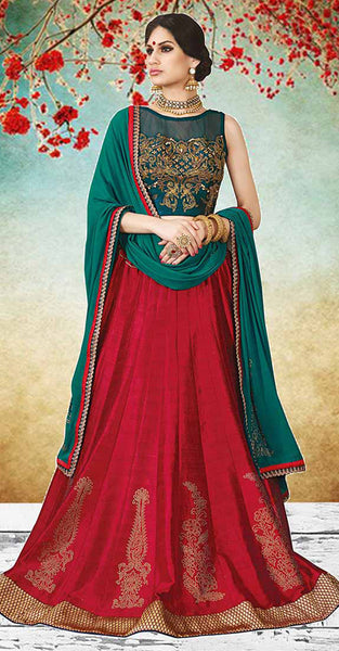 Green and Red Lehenga