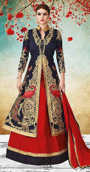 Navy Blue and Red Lehenga