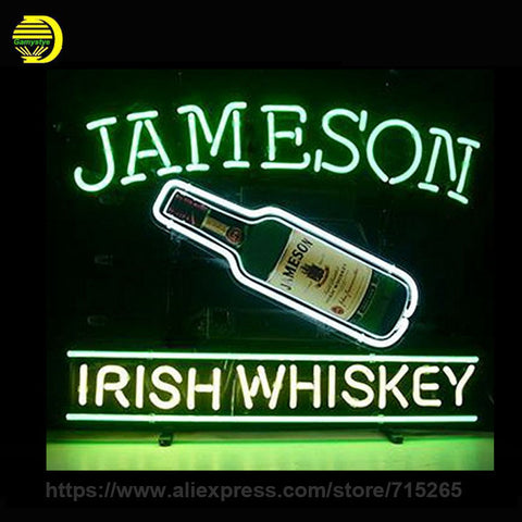 Jameson Irish Whiskey Neon Sign Decorate Room Real Glass Tube Neon Bulb Recreation Room Indoor Frame Sign Store Displays VD17x14
