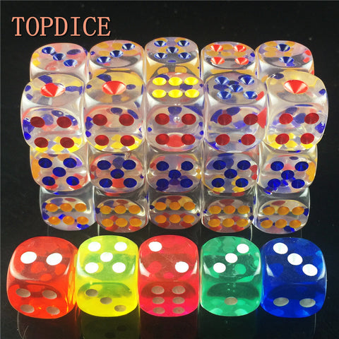 [TOPDICE] 10pcs/lot 14mm clear colorful Digital Dice Clear adult love romance small gift high quality playing rpg game cube set
