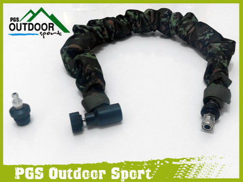 Paintball Remote Hose Coiled air line w/ Quick Disonnc & Black Slide Check and Digital Camo Cover 4m(extend long)