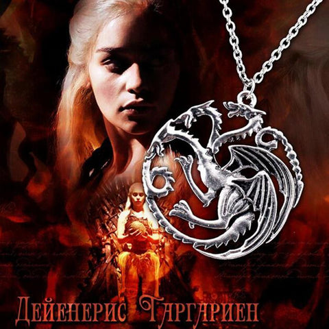 Hot Jewelry Vintage Style Silver Color Song Of Ice And Fire Game Of Thrones Targaryen Dragon Badge Necklace Good Quality