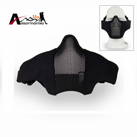 Tactical Metal Wire Half Face Mask Outdoor Hunting Breathable Mesh Mask  Airsoft Anti-shock Paintball Resistant Black