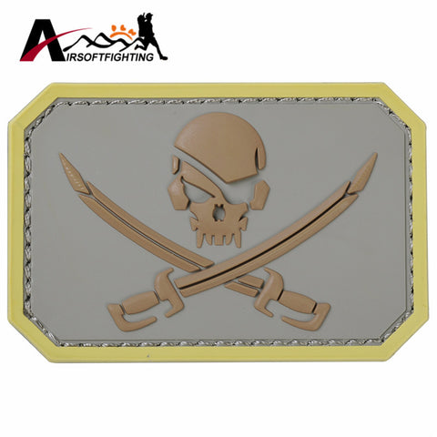 Emerson Airsoft Tactical Pirate Skull 3D PVC Patch with Adhesive Fastener Tape Back Military Paintball Hunting Rubber Badge