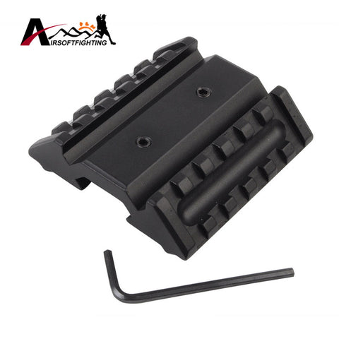 Airsoft Tactical 45 Degree Hunting Dual Offset Rail Interface Mount Base Laser Flashlight 20mm RIS Rail Picatinny Rail