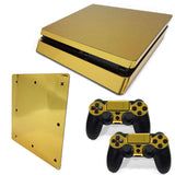 Golden Plating Painted Vinyl Game Protective Skin Sticker For Playstation 4 Slim Sticker For PS4 Slim Console +2 Controller